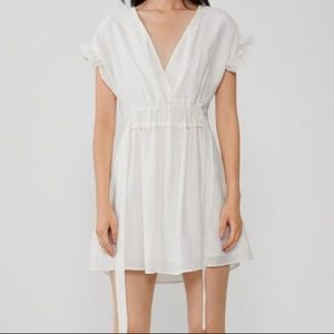 Zara V Neck Lined White Mini Dress with Side Ties